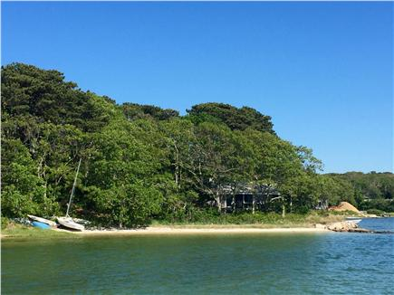 Vineyard Haven Martha's Vineyard vacation rental - View of house, beach & boat from water