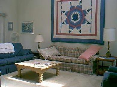 Edgartown Martha's Vineyard vacation rental - Living room with quilt our daughter Karla made