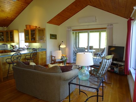 Chilmark Martha's Vineyard vacation rental - Large vaulted living area with TV, slider to porch
