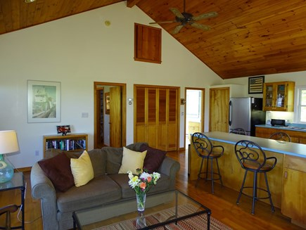 Chilmark Martha's Vineyard vacation rental - View from living room towards kitchen and bedroom