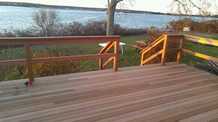 Oak Bluffs Martha's Vineyard vacation rental - 33x12 mahogany back deck faces the water, has table & chairs.
