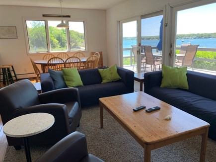 Oak Bluffs Martha's Vineyard vacation rental - Living room conversation group w/flat screen tv overlooks water