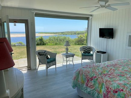 Chilmark - Lucy Vincent Beach Martha's Vineyard vacation rental - Master bedroom and pond view