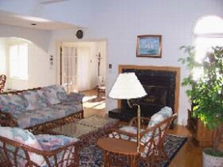 Edgartown  SALE JULY WEEKS $30 Martha's Vineyard vacation rental - Living room fireplace, comfortable furnishings, cathedral ceiling