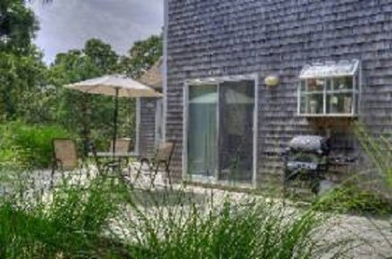 Edgartown   Martha's Vineyard vacation rental - Spacious deck for outdoor dining  table for six, gas grill, swing
