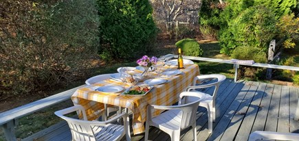 Katama - Edgartown Martha's Vineyard vacation rental - Deck with dining table. Seats 8