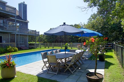 Katama - Edgartown, Edgartown Martha's Vineyard vacation rental - Back of house, showing decks, and pool