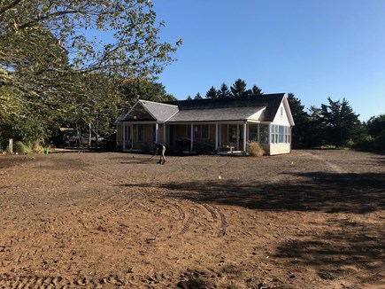 Katama - Edgartown, Edgartown/Katama area located  Martha's Vineyard vacation rental - During construction, note sunroom and large yard