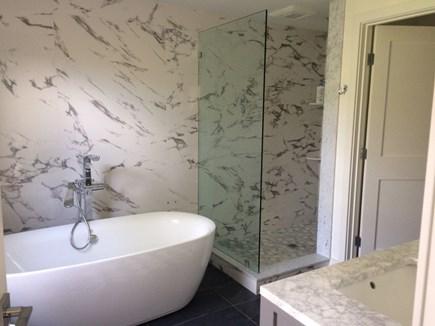 Katama - Edgartown, Edgartown/Katama area located  Martha's Vineyard vacation rental - Master #1 bathroom with double marble vanity