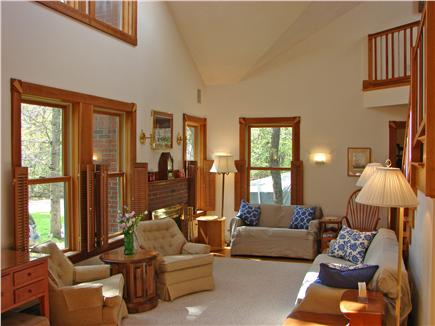 Oak Bluffs Martha's Vineyard vacation rental - Large vaulted living room with lots of sunshine and fireplace
