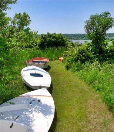 Chilmark Martha's Vineyard vacation rental - View of path to pond and some of the included boats.