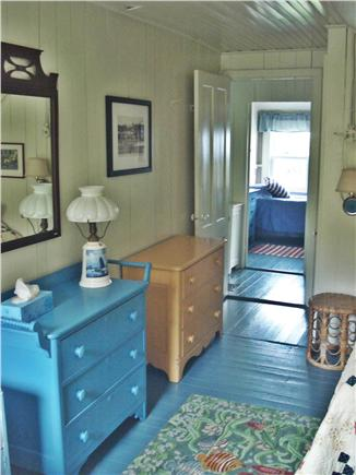 Oak Bluffs, East Chop Martha's Vineyard vacation rental - Blue Double Twin Bedroom, Closet, Two Bureaus, Woods View.