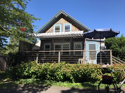 Oak Bluffs, East Chop Martha's Vineyard vacation rental - New Deck Awning in 2018. Deck has grill, outdoor table and chairs