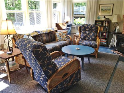 Oak Bluffs, East Chop Martha's Vineyard vacation rental - Living Room, Propane Stove in Fireplace, TV, Wireless, Woods View