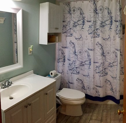 West Tisbury, MA Martha's Vineyard vacation rental - Full bathroom with nautical theme.