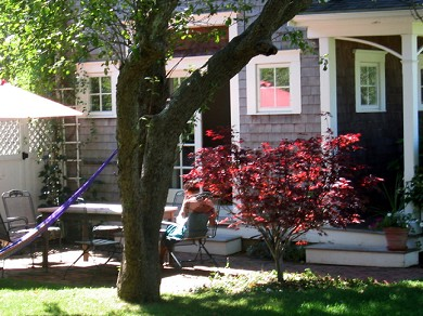 Edgartown Martha's Vineyard vacation rental - The brick Terrace in the garden