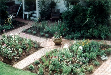 Edgartown Martha's Vineyard vacation rental - View of the gardens across the lawn, early Spring