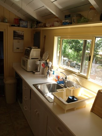 Vineyard Haven Martha's Vineyard vacation rental - Galley kitchen looking out to the back yard