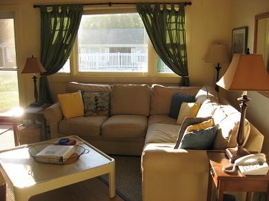 Vineyard Haven Martha's Vineyard vacation rental - Living Room with view of  pool and peeks of harbor