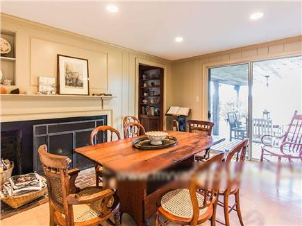 West Tisbury Martha's Vineyard vacation rental - Eat-in kitchen table looks north to Vineyard Sound