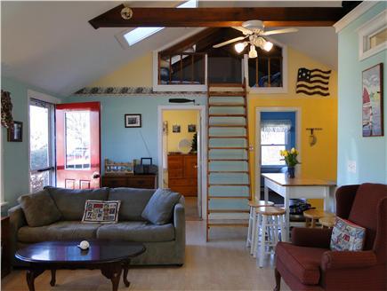 Edgartown Martha's Vineyard vacation rental - Living room opens to kitchen; ladder to loft