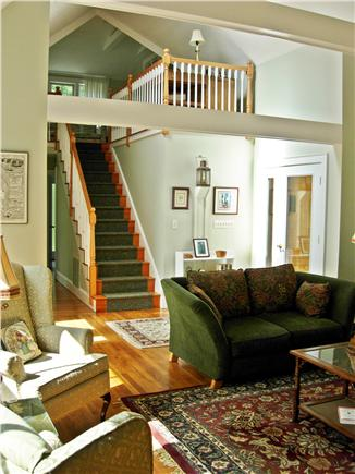 Edgartown Martha's Vineyard vacation rental - Living room and view to upstairs, with BR and sitting room