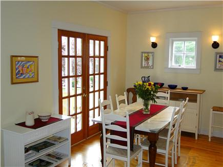 Edgartown Martha's Vineyard vacation rental - Dining area with French doors to back porch