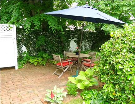 Edgartown Martha's Vineyard vacation rental - Patio area with seating, grill, outdoor shower, gardens