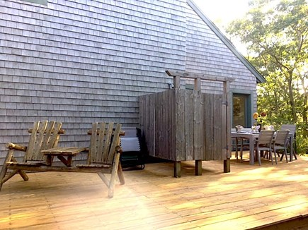 West Tisbury Martha's Vineyard vacation rental - Outdoor deck w sitting & dining areas, enclosed outdoor shower