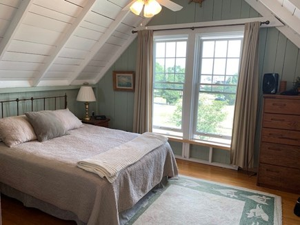 Oak Bluffs, Highlands Section of East Chop Martha's Vineyard vacation rental - Master bedroom with harbor view: Spectacular sunrises