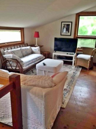 West Tisbury Martha's Vineyard vacation rental - King sitting area, 2nd floor, main house, TV with DVD and VCR