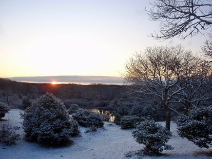 Aquinnah Martha's Vineyard vacation rental - Our Pond from House - Winter Sunsrie