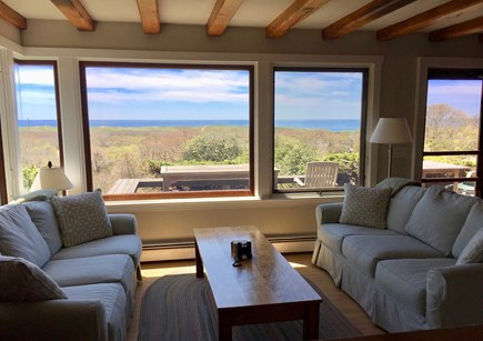 Aquinnah Martha's Vineyard vacation rental - Living Room and View of Atlantic