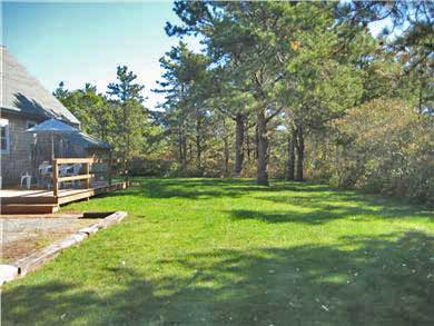 West Tisbury Martha's Vineyard vacation rental - Back yard, deck with southern exposure