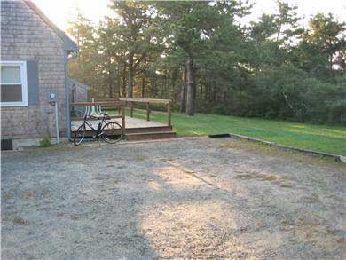West Tisbury Martha's Vineyard vacation rental - Back yard, deck view from parking area