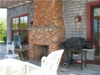 Edgartown Martha's Vineyard vacation rental - Southern deck with outdoor fireplace and grill
