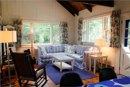 Chilmark Martha's Vineyard vacation rental - Living room with comfortable seating, TV, and operable skylights