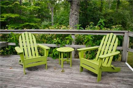 Chilmark Martha's Vineyard vacation rental - Large deck with table, benches, and outdoor seating