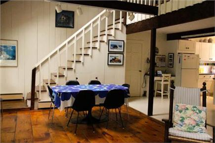 Chilmark Martha's Vineyard vacation rental - Dining area and stairs to the loft and upstairs bedrooms & bath