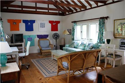 Chilmark Martha's Vineyard vacation rental - Large family room with TV, internet connection, and two desks