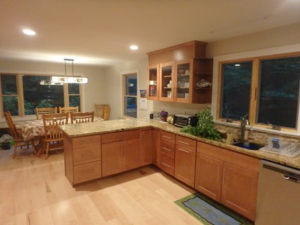 West Tisbury, Lambert's Cove Martha's Vineyard vacation rental - Open Kitchen/DR-seats 8, stone counter-3 stools, large kitchen