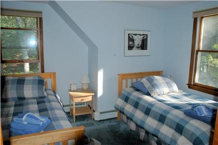 West Tisbury, Lambert's Cove Martha's Vineyard vacation rental - 3rd BR: 2 twins, cozy room facing back & side; AC, fans, closet