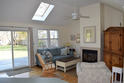 Edgartown Martha's Vineyard vacation rental - Living room with slider to deck