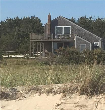 Madaket Nantucket vacation rental - View of house from the beach (both decks have ocean view)
