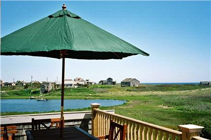 Madaket Nantucket vacation rental - Dining area on upper deck has ocean and creek views