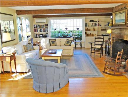 Nantucket town Nantucket vacation rental - Living Room Seating Area w/TV and Large Fireplace