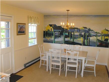 Brant Point Nantucket vacation rental - Formal Dining Room for Six with Mural of Straight Wharf