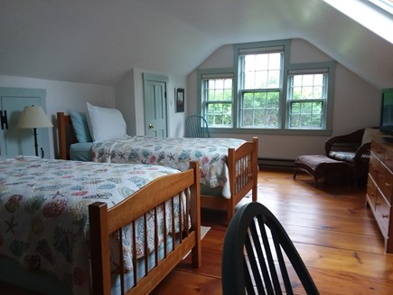 Nantucket town Nantucket vacation rental - Twin Bedroom upstairs.  Shower bath to the left.