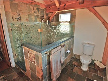 Siasconset Nantucket vacation rental - Beautiful walk in shower lined with slate and glass tile floor.