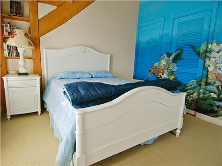 Siasconset Nantucket vacation rental - East bedroom with queen bed and mural of humpback whales.